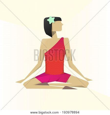 Girl Practicing Yoga. Lotus asana. Lotus pose namaste. Light background. Material palette. Vector illustration. Eps10.