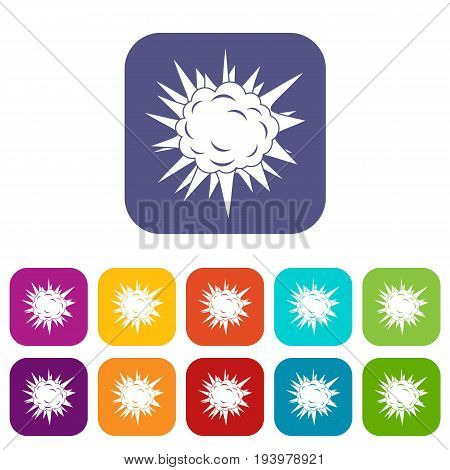 Terrible explosion icons set vector illustration in flat style In colors red, blue, green and other