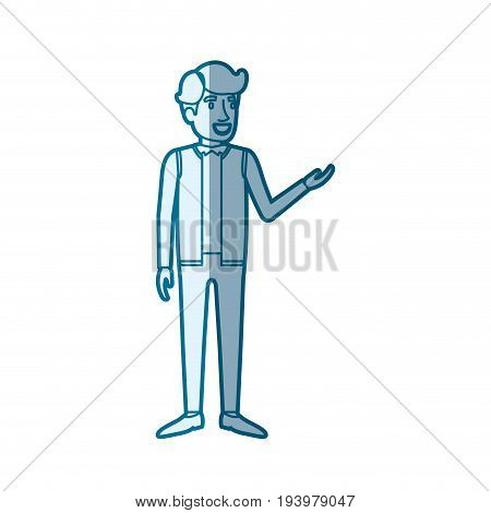 blue color silhouette shading of man standing in formal clothes and hair in side fringe vector illustration