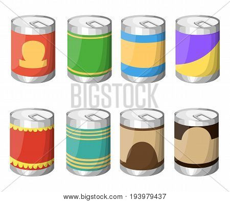 Collection Of Various Tins Canned Goods Food Metal Container Grocery Store And Product Storage Alumi