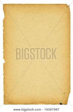 High detailed vintage paper with torn edges isolated on white.
