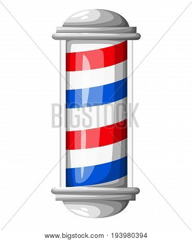 Old Fashioned Vintage Glass Barber Shop Pole With Barber Sign. Vector Illustration Web Site Page And