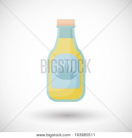 Agave syrup vector flat icon Flat design superfood and healthy eating object with round shadow isolated on the white background cute vector illustration with reflections