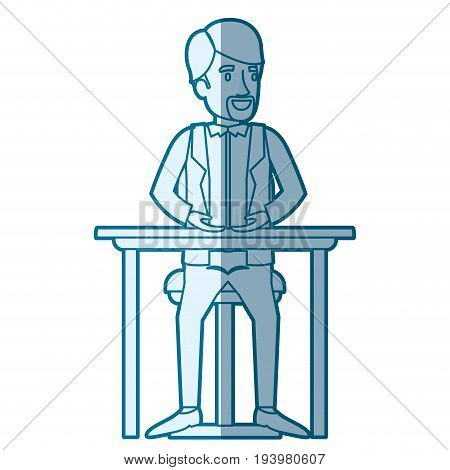 blue color silhouette shading of man in formal suit and van dyke beard and sitting in chair in desktop vector illustration