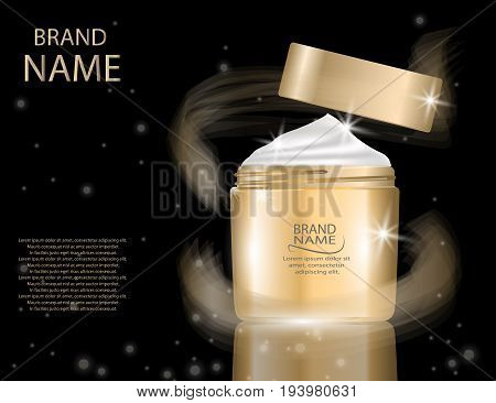 Glamorous foundation glass bottle on the sparkling effects background. Mock-up 3D Realistic Vector illustration for design template