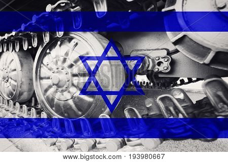 Military Tank Close-up Caterpillar Track With Israel Flag Background.