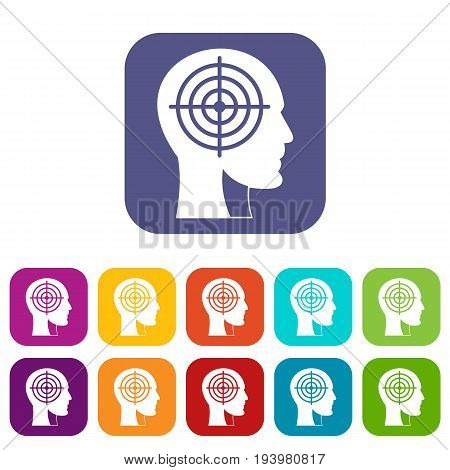 Crosshair in human head icons set vector illustration in flat style In colors red, blue, green and other