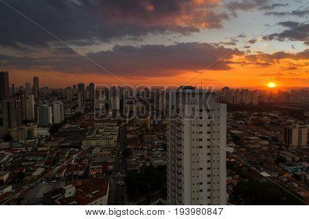 Sunset over Sao Paulo city
