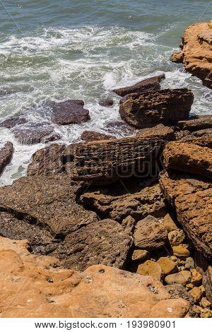 View On Coast Line Rocks In Ocean
