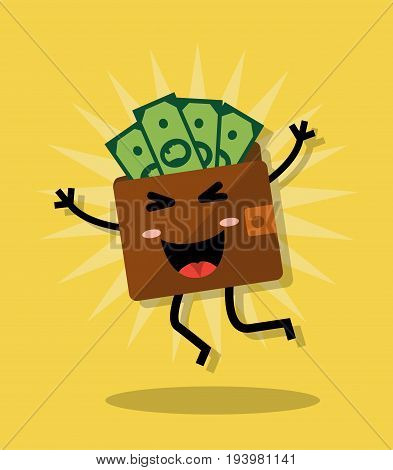 Happy cartoon jumping purse with money On a yellow background