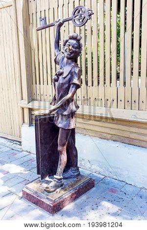 SAMARA, RUSSIA - JUNE 19, 2017: Museum-Estate of the writer A.N. Tolstoy. Bronze statue of Pinocchio