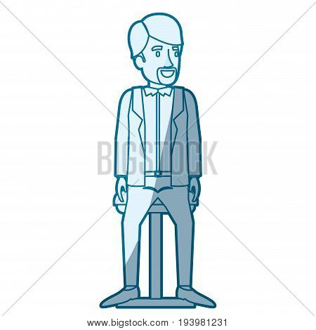 blue color silhouette shading of man with van dyke beard in casual clothes and sitting in chair vector illustration