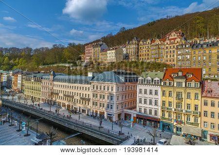 Historical houses along Tepla river in city center of Karlovy Vary Czech republic