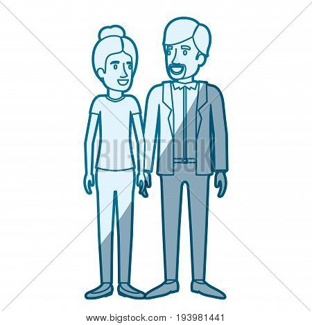 blue color silhouette shading of man and woman standing and her with hair collected and him in casual clothes and beard van dyke vector illustration