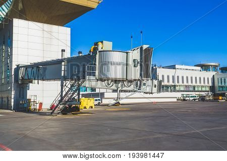 Telescopic Gangway Gate From The Airport Terminal