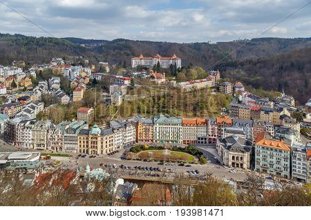 View of Karlovy Vary city center from hill Czech republic