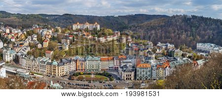 Panoramic view of Karlovy Vary city center from hill Czech republic