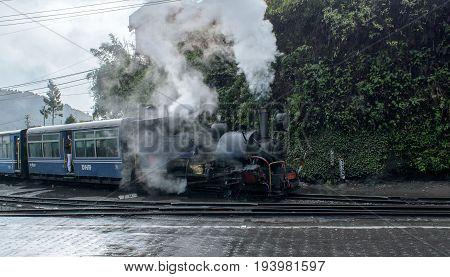 Darjeeling, west bengal, India on May 01,2017.The Darjeeling Himalayan Railway, also known as the Toy Train, is a 2 ft narrow gauge railway that runs between New Jalpaiguri and Darjeeling .
