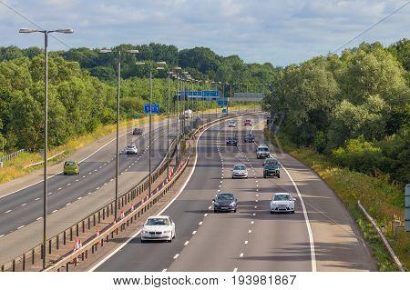 BirminghamUK - July 2 2017: Traffic on British motorway M5 near West Bromwich