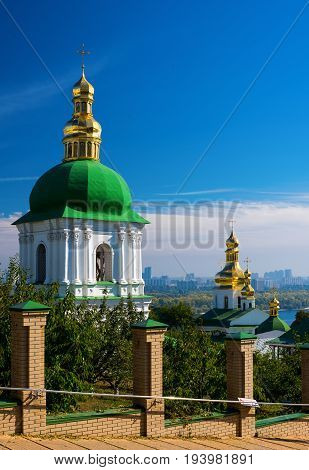 Kiev-Pechersk Lavra in Kiev against the blue sky