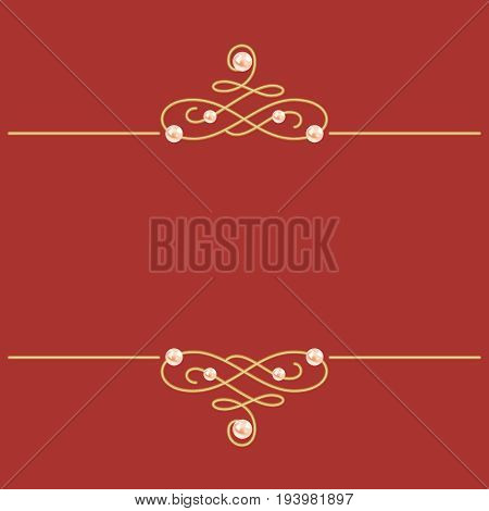 Elegant golden knot sign. Burgundy red illustration beautiful calligraphic flourish dividers with pearls. Can be used for decorate cards wedding invitations border decorate books. Vector