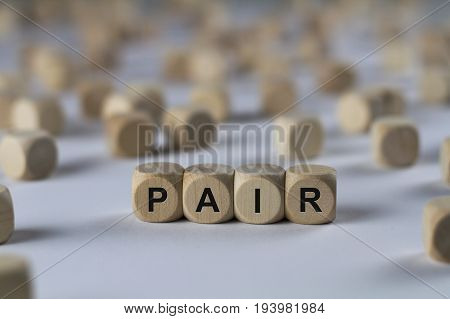Pair - Cube With Letters, Sign With Wooden Cubes