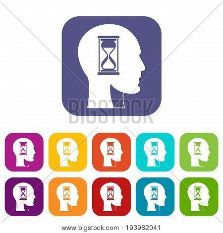 Hourglass in head icons set vector illustration in flat style In colors red, blue, green and other