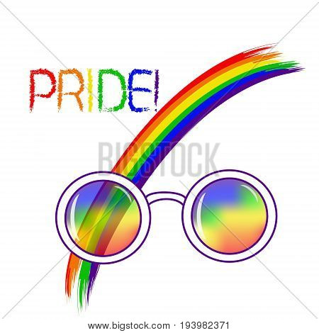 Stylish round glasses. Using original rainbow colors . Unconventional sexual orientation for LGBT gay and lesbian parade. Vector illustration of a flat style design for t-shirt and web