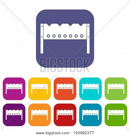 Brazier icons set vector illustration in flat style In colors red, blue, green and other