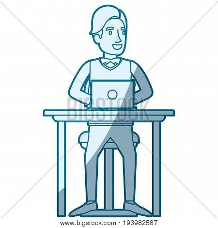 blue color silhouette shading of man with formal suit and side fringe hair and sitting in chair in desk in laptop device vector illustration