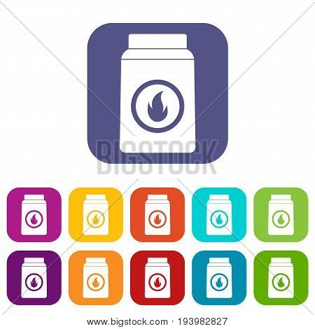 Matchbox icons set vector illustration in flat style In colors red, blue, green and other