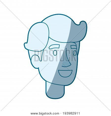 blue color silhouette shading of man face with side fringe hair vector illustration