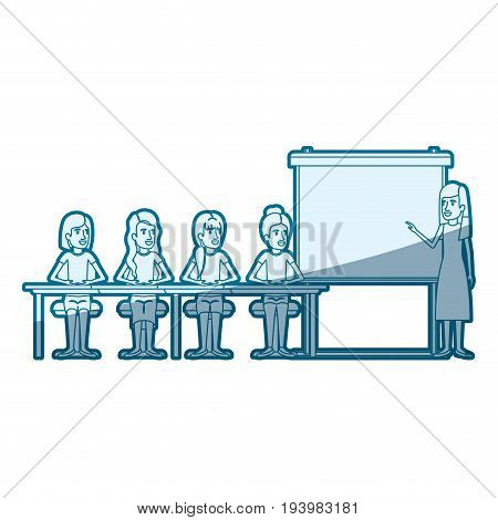 blue color silhouette shading with women group sitting in a desk for executive female in presentacion business people vector illustration
