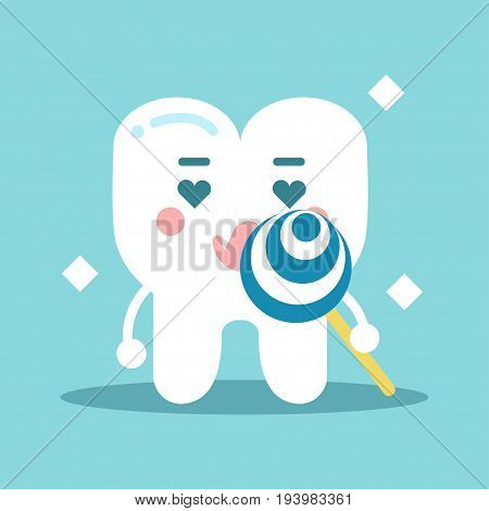 Cute enamored cartoon tooth character holding lollipop, dental vector Illustration for kids on a light blue background