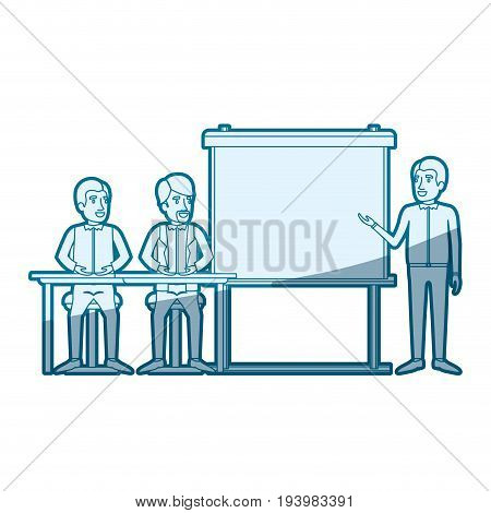 blue color silhouette shading with pair of man sitting in a desk for executive lecturer in presentacion business people vector illustration