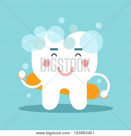 Cute cartoon tooth character washing himself, dental vector Illustration for kids on a light blue background