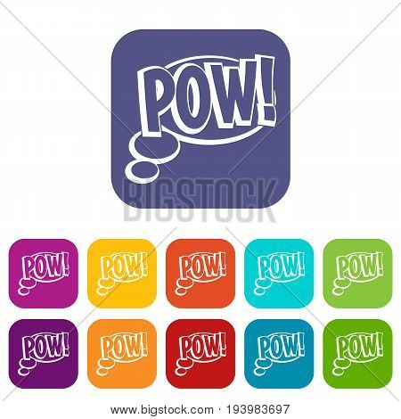 Pow, speech bubble icons set vector illustration in flat style In colors red, blue, green and other