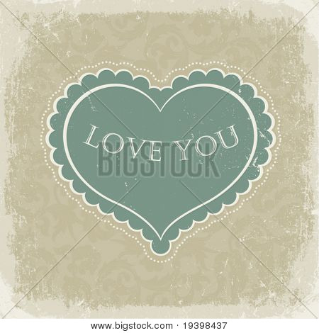 Vintage gift card with heart shaped space for text in a  in beige gamut