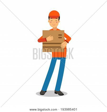Delivery service worker holding cardbox, courier in uniform at work cartoon character vector Illustration isolated on a white background