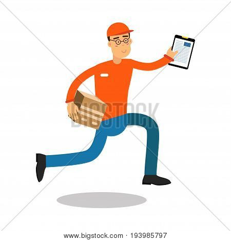 Smiling delivery man running with cardbox and documents, courier in uniform at work cartoon character vector Illustration isolated on a white background