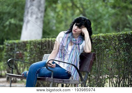 Attractive Beautiful Latin Woman Feeling Sad And Depressed