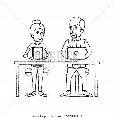 blurred silhouette teamwork of woman and man sitting in desk with tech devices and her with collected hair and him in casual clothes with van dyke beard vector illustration