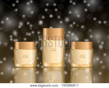 Glamorous foundation glass bottles on the sparkling effects background. Mock-up 3D Realistic Vector illustration for design template