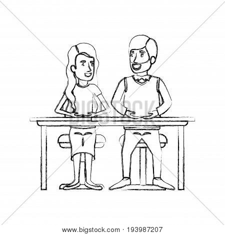 blurred silhouette teamwork of couple sitting in desk and woman with wavy long hair and man van dyke hair in formal suit vector illustration