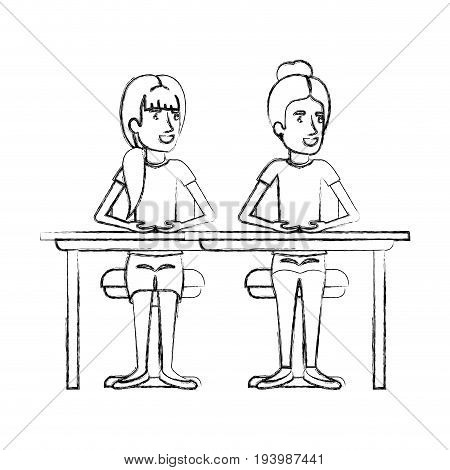blurred silhouette women sitting in desk one with collected hair and the other with ponytail hairstyle vector illustration
