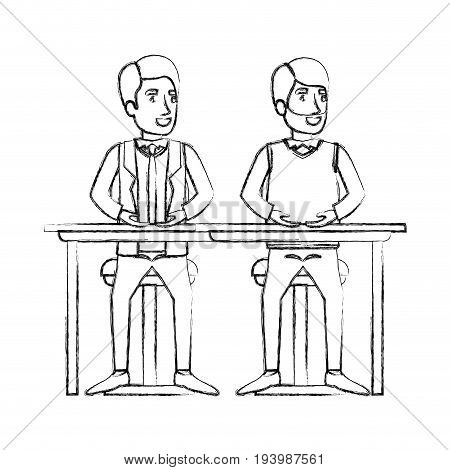 blurred silhouette men sitting in desk one with casual clothes and beard and the other with formal suit and necktie vector illustration
