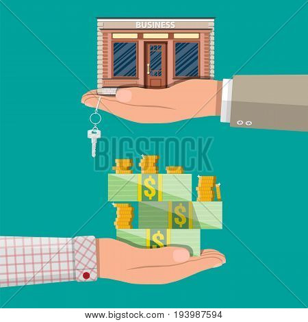 Hand holding shop or commercial property with key. Hand with money. Real estate business promotional, startup. Vector illustration in flat style