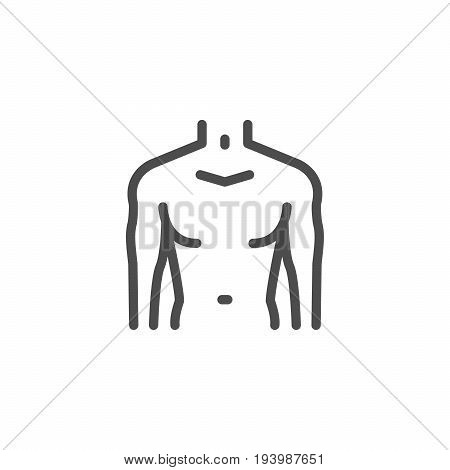 Male torso line icon isolated on white. Vector illustration