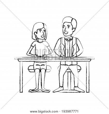 blurred silhouette teamwork of couple sitting in desk and woman with short hair and man side parted hair in formal suit vector illustration