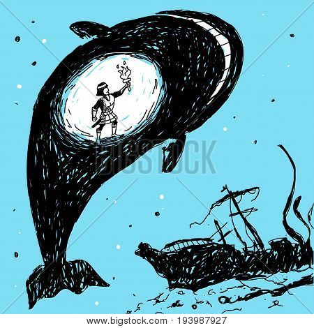 Belly of the Whale Vector Illustration eps 8 file format
